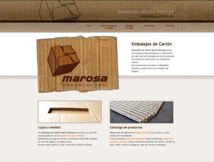 Diseño web en Valladolid:Embalajes de carton Martín Rodrigo